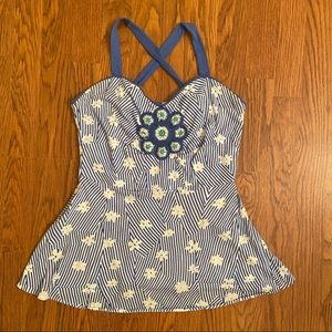 Anthro Little Yellow Button Blue Floral Stripe Top